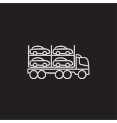 Car carrier sketch icon vector image
