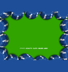 casino chips on a green background top view of bl vector image