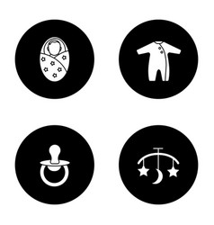 Childcare glyph icons set vector