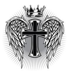 Christian cross wing crown drawing blak vector