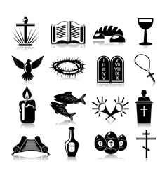 Christianity icons set black vector image