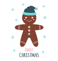 christmas card with cute gingerbread vector image