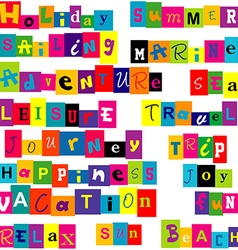 Colorful words relate with summer and holiday vector image
