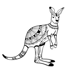 coloring book coloring page animal kangaroo vector image