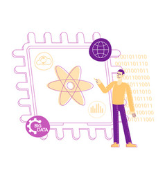 computer engineer male character pointing on atom vector image