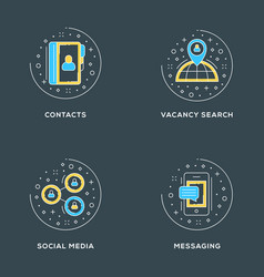 contacts vacancy search social media messaging vector image