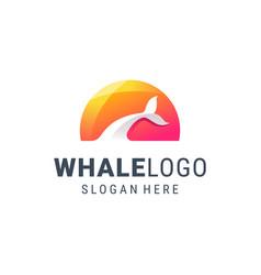 creative whale logo design vector image