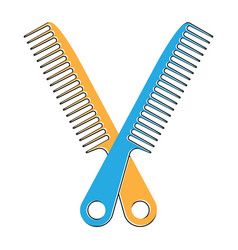 Crossed on hair comb flat colour icon for apps vector