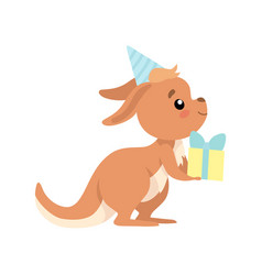 Cute baby kangaroo wearing party hat holding gift vector