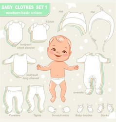 cute little baby in diaper as paper doll vector image