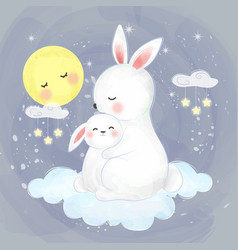 Cute mommy and baby rabbit vector
