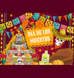 day dead mexican dia de los muertos altar photo vector image