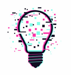 digital start up idea electric lamp with glitch vector image