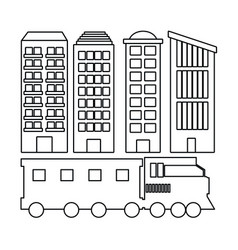 drawings buildings train sketch vector image