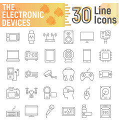 electronic devices thin line icon set media signs vector image