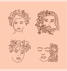 elegant women s faces in one line art style with vector image