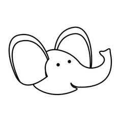 Elephant cartoon head in monochrome silhouette vector