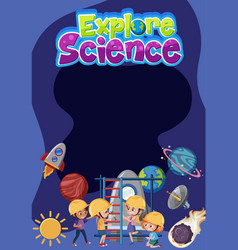 explore science logo with blank banner and kids vector image