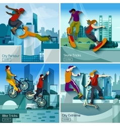 Extreme City Sports 2x2 Design Concept Set vector image