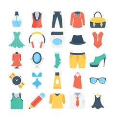 Fashion and clothes colored icons 5 vector