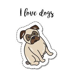 fashion patch element with dog vector image