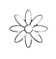 Figure natural flower plant with petals vector