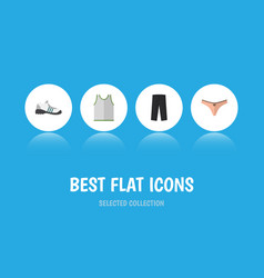 flat icon clothes set of pants lingerie singlet vector image