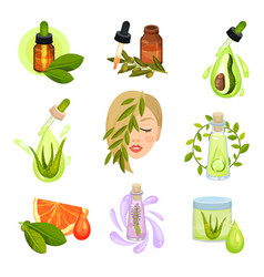 flat set of natural cosmetic icons bottles vector image