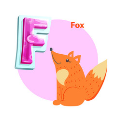 fox character and uppercase f for kids alphabet vector image
