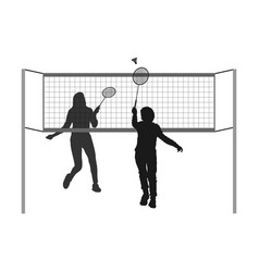 Girl and boy playing badminton silhouette vector