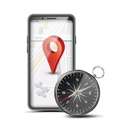 Gps app concept mobile smart phone with vector