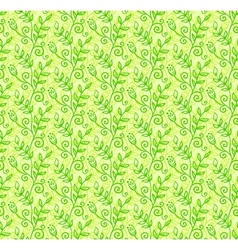Green doodle foliage seamless pattern vector