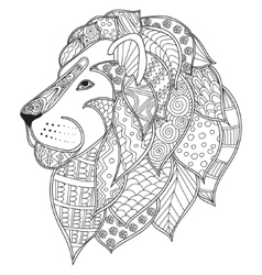 Hand drawn ornamental outline lion head vector