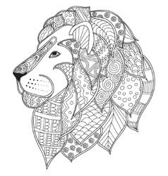 hand drawn ornamental outline lion head vector image