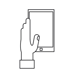 Hand hold smartphone play music outline vector