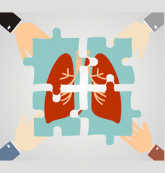 Hands putting human lungs puzzle pieces together vector