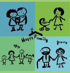 happy family hand drawing vector image
