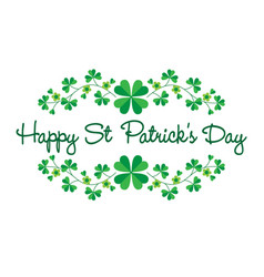 happy saint patricks day in shamrock frame vector image