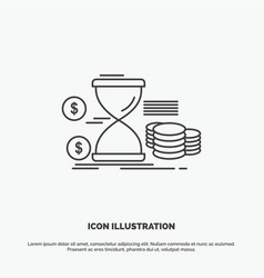Hourglass management money time coins icon line vector