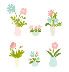 Isolated set of flowers in vases vector