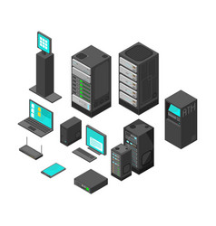 Isometric technology and banking icons flat vector