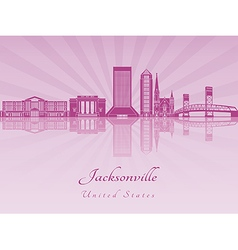 Jacksonville skyline in purple radiant orchid vector