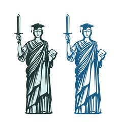 judiciary education symbol notary justice vector image