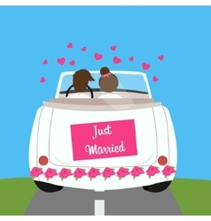 just married wedding car couple honeymoon marriage vector image