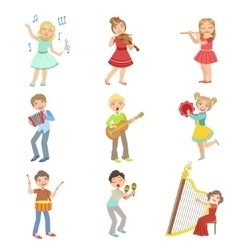 Kids Singing And Playing Music Instruments Set vector image