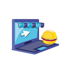 laptop computer with hamburger and parasol vector image