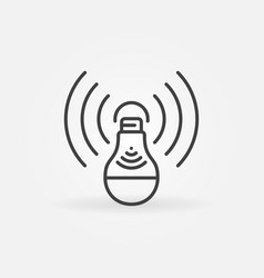 light bulb with wifi outline concept icon vector image
