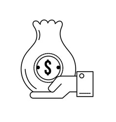 line businessman with bag cash money in the hand vector image