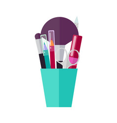 Makeup tools and applicators in bright plastic cup vector