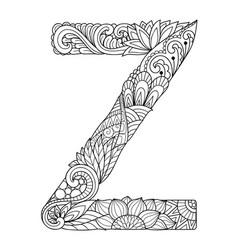 mandala letter z monogram vector image